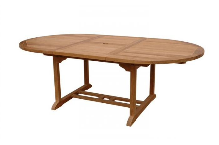 "Most Up To Date Anderson Teak Tbx 087Vt Bahama 87"" Oval Extension Dining Table Extra Within Natural Wood & Recycled Elm 87 Inch Dining Tables (View 12 of 20)"
