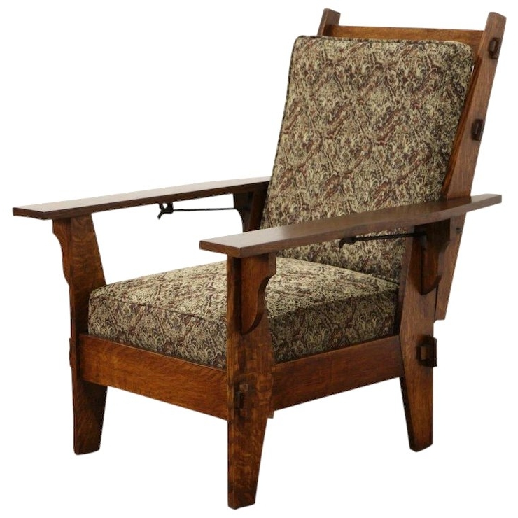 Most Up To Date Arts & Crafts Mission Oak Antique 1905 Morris Chair Or Recliner, New Pertaining To Craftsman Upholstered Side Chairs (View 13 of 20)