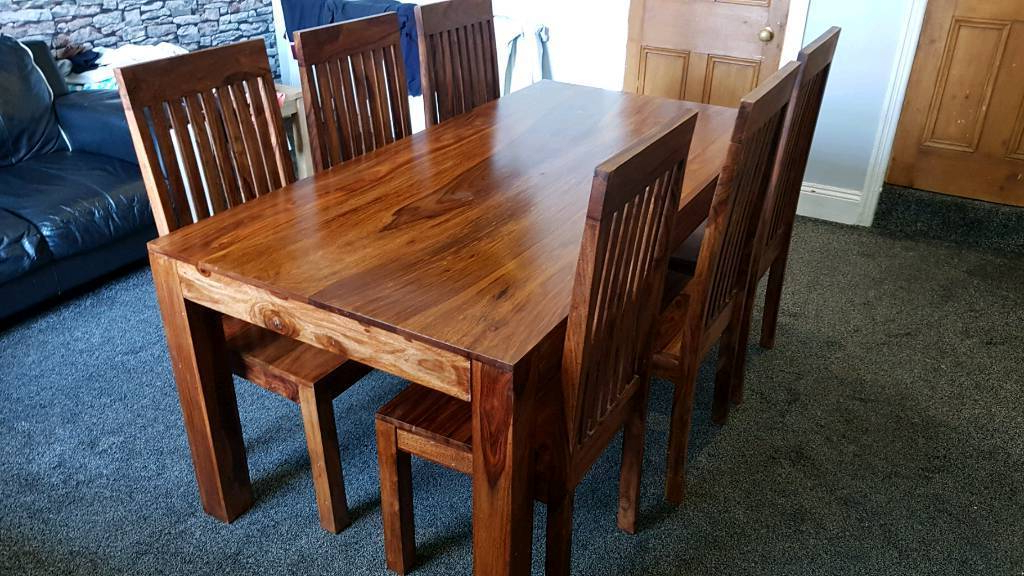 Most Up To Date Beautiful Indian Sheesham Dining Table And 6 Chairs (View 17 of 20)