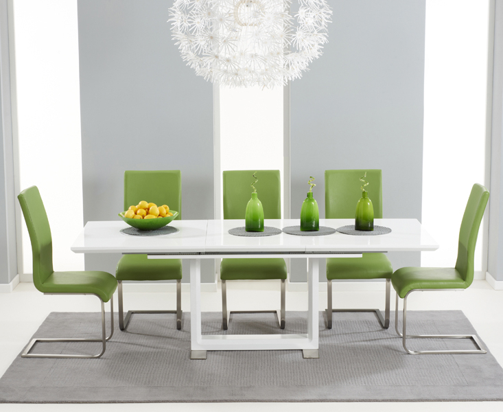 Most Up To Date Beckley 160 White Extending Dining Table + 6 Malibu Green Chairs With Cream Gloss Dining Tables And Chairs (View 16 of 20)