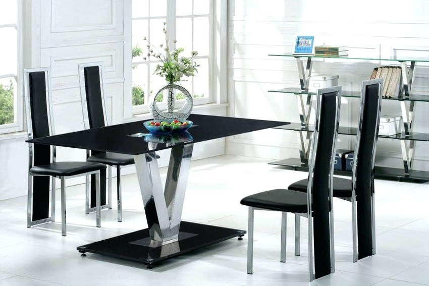 Most Up To Date Black Glass Dining Table 8 Chairs Top Set Extending 6 Throughout Black Glass Dining Tables 6 Chairs (View 13 of 20)
