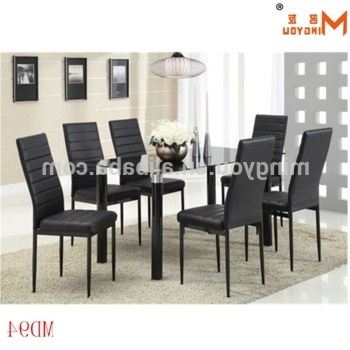 Most Up To Date Black Glass Dining Tables 6 Chairs In Black Glass Dining Table 6 Chairs Set With Reasonable Price – Buy (View 6 of 20)