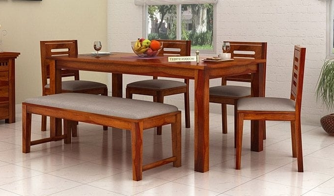 Most Up To Date Buy Janet 6 Seater Dining Table Set With Bench (honey Finish) Online Within 6 Seat Dining Table Sets (View 6 of 20)