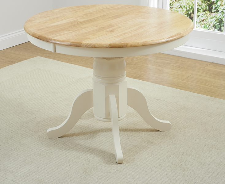 Most Up To Date Buy Mark Harris Elstree Oak And Cream Round Dining Table Butterfly Within Round Extending Dining Tables (View 9 of 20)