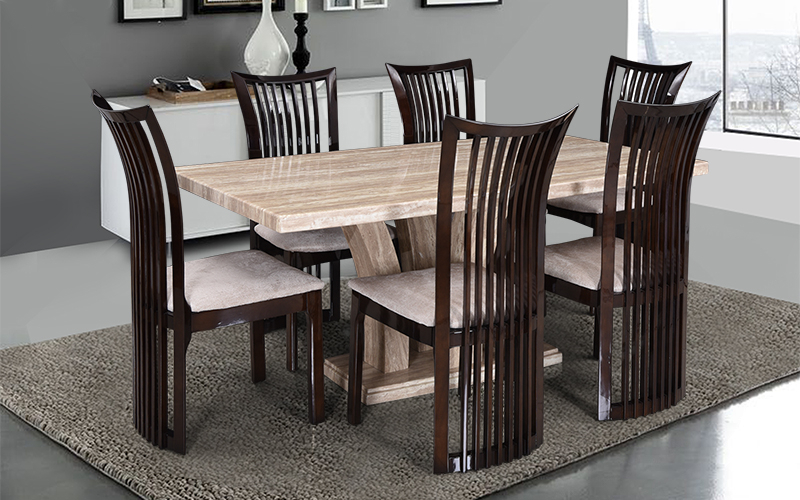 Most Up To Date Buy Royaloak Elegant 6 Seater Oak Wood Dining Set With Italian Throughout Oak 6 Seater Dining Tables (View 12 of 20)