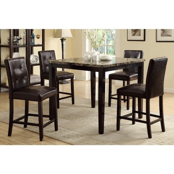Most Up To Date Caden 7 Piece Dining Sets With Upholstered Side Chair Within Shop Bayfield 5 Piece Counter Height Dining Set – Free Shipping (View 11 of 20)