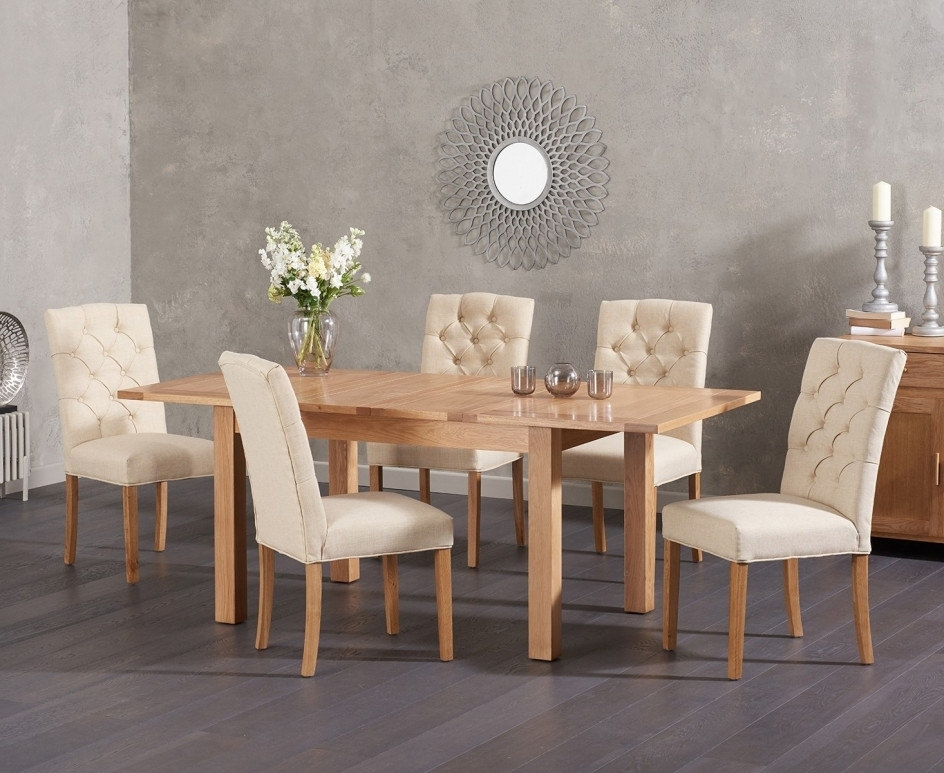 Most Up To Date Candice Ii Extension Rectangle Dining Tables Pertaining To Cheadle 120Cm Oak Extending Dining Table With Candice Fabric Chairs (View 12 of 20)