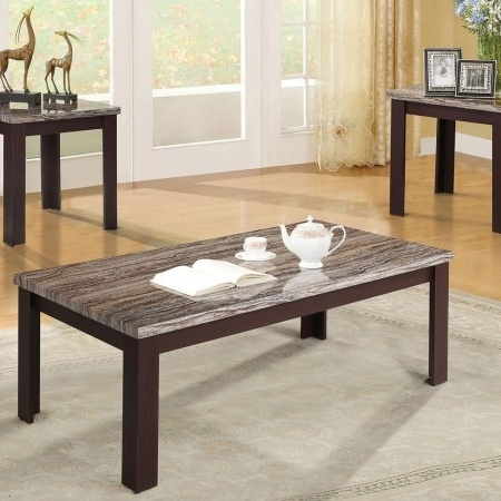 Most Up To Date Carly Triangle Tables Inside Furniture Of America May Brown Cherry Occasional Table Set – May (View 11 of 20)