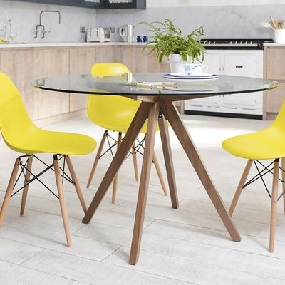 Most Up To Date Circular Dining Tables For Tempered Glass Round Dining Table With Walnut Legs (View 12 of 20)