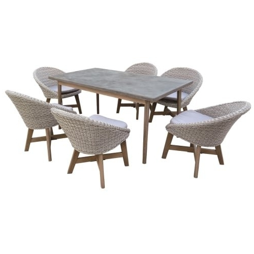Most Up To Date Cora 7 Piece Dining Sets With Shop Delacora Df 6071 Bad 7 Piece Eucalyptus Framed Outdoor Dining (View 14 of 20)