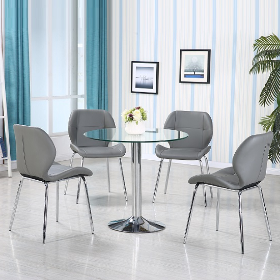 Most Up To Date Dante Glass Dining Table In Clear With 4 Grey Darcy Chairs With Regard To Dining Tables With Grey Chairs (View 13 of 20)