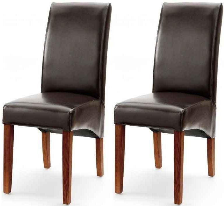 Most Up To Date Dark Brown Leather Dining Chairs For Akron Brown Faux Leather Dining Chair With Dark Leg (Pair) (Gallery 5 of 20)