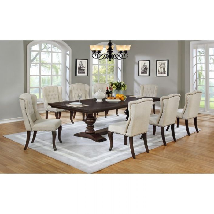 Most Up To Date Dining Tables And Fabric Chairs Pertaining To Best Quality 9Pc Cappuccino Dining Table Set Nail Head Fabric Chairs (View 14 of 20)