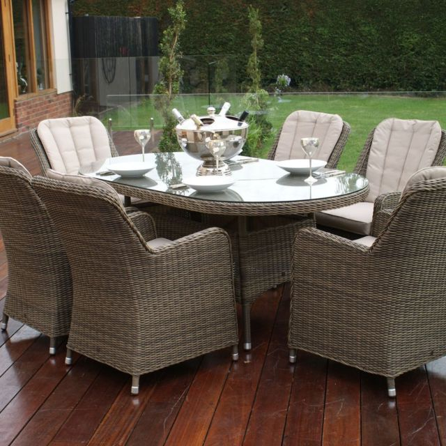Most Up To Date Dorchester Rome Rattan Garden Furniture Oval 6 Seater Dining Table With Regard To Roma Dining Tables And Chairs Sets (View 9 of 20)