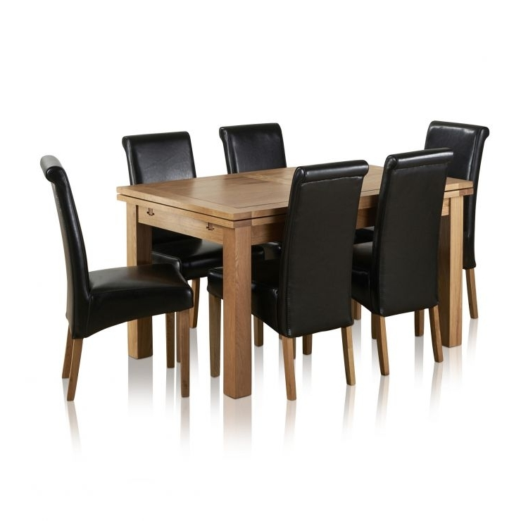 Most Up To Date Dorset Extending Dining Set In Oak: Table + 6 Scroll Back Chairs With 3Ft Dining Tables (View 13 of 20)