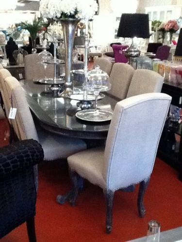 Most Up To Date French Black & Oak Oval Dining Table, Double Pedestal – Sits 8 10 Throughout Ebay Dining Suites (View 19 of 20)