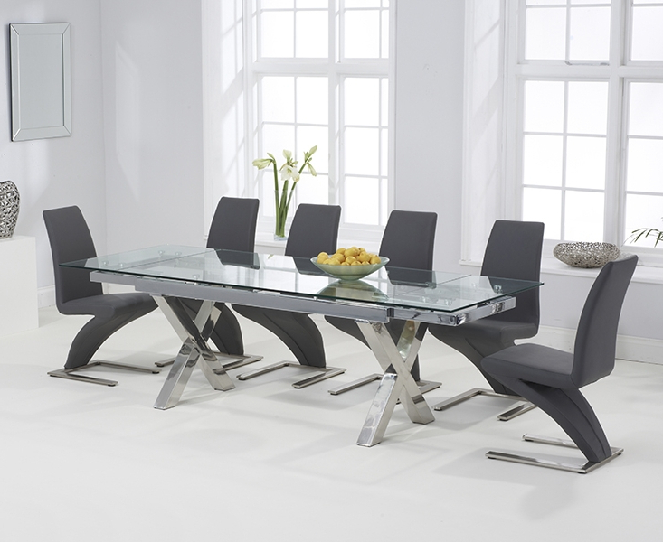 Most Up To Date Glass Extendable Dining Tables And 6 Chairs With Buy Mark Harris Cilento Glass Rectangular Extending Dining Set With (View 18 of 20)