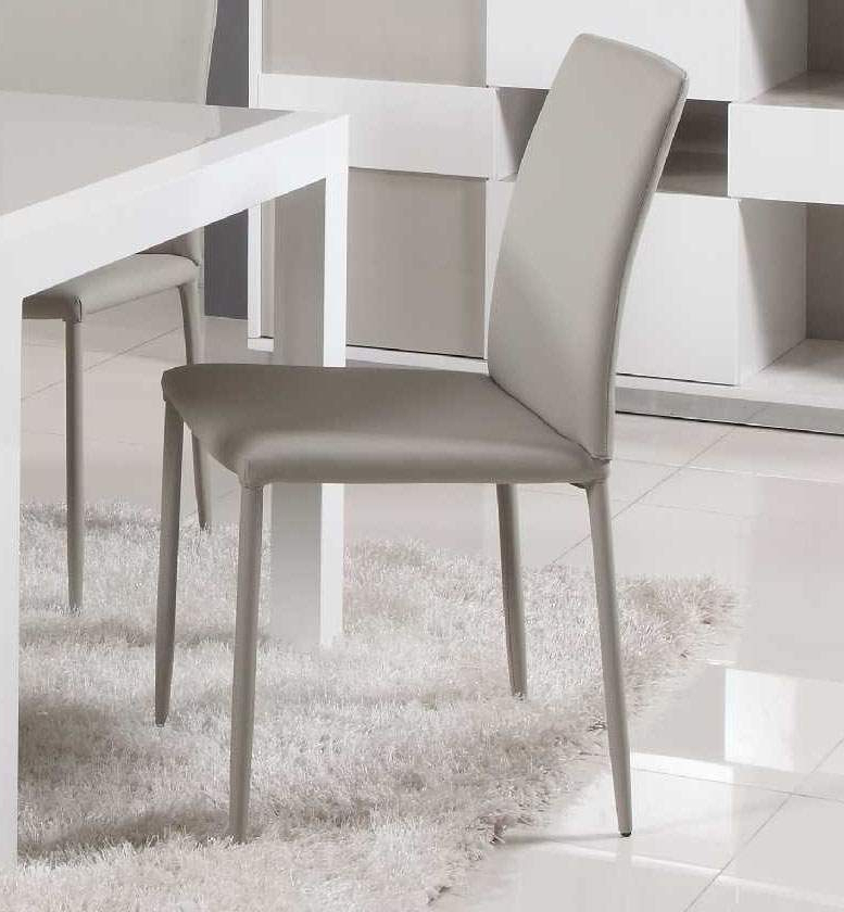 Most Up To Date Grey Leather Dining Chairs Regarding Contemporary Simple Italian Design Leather Dining Chair In Grey (View 20 of 20)