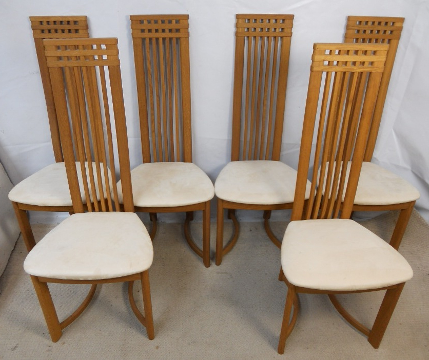 Most Up To Date High Back Dining Chairs In Set Of Six Oak Highback Modern Style Danish Retro Dining Chairs – Sold (View 15 of 20)