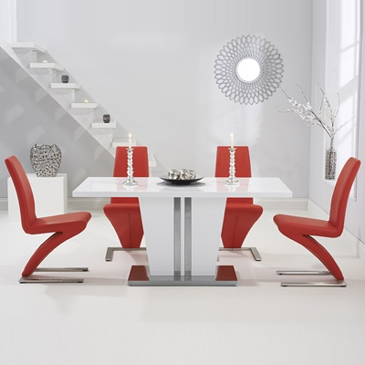 Most Up To Date High Gloss White Dining Chairs For Vegas High Gloss White Dining Table With 6 Harvey Red Chairs (View 17 of 20)