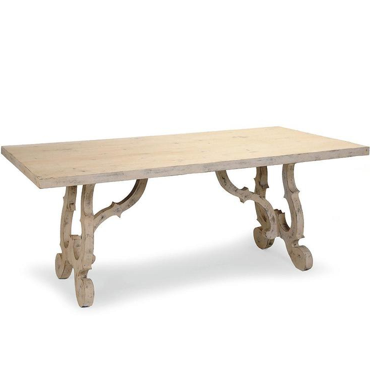 Most Up To Date Java Dining Tables Intended For French Country Scroll Leg Long Dining Table (Gallery 5 of 20)