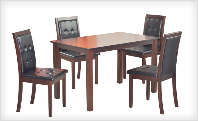 Most Up To Date Kirsten 5 Piece Dining Sets With Wagjag: $399 For A 5 Piece Kristin Dining Set (A $799 Value) (View 16 of 20)