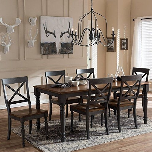 Most Up To Date Lindy Dove Grey Side Chairs Inside Baxton Studio Rosalind 7 Piece Dining Set In Dove Gray (View 18 of 20)