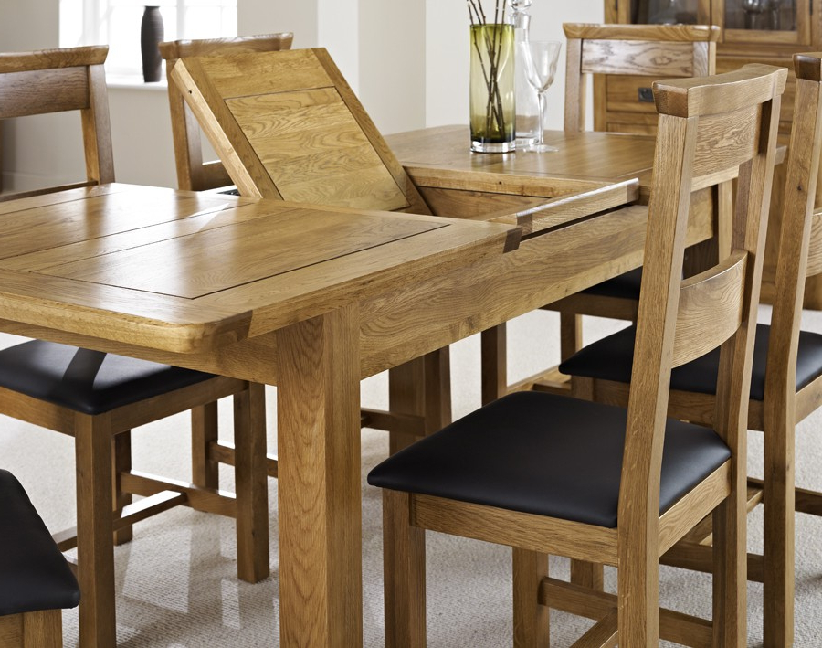Most Up To Date London Dark Oak Extending Dining Table With Six Chairs – London For Oak Dining Sets (View 15 of 20)