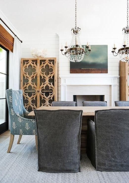 Most Up To Date Market Host Chairs Intended For Blond Wood Dining Table With Charcoal Gray Slipcovered Dining Chairs (View 8 of 20)