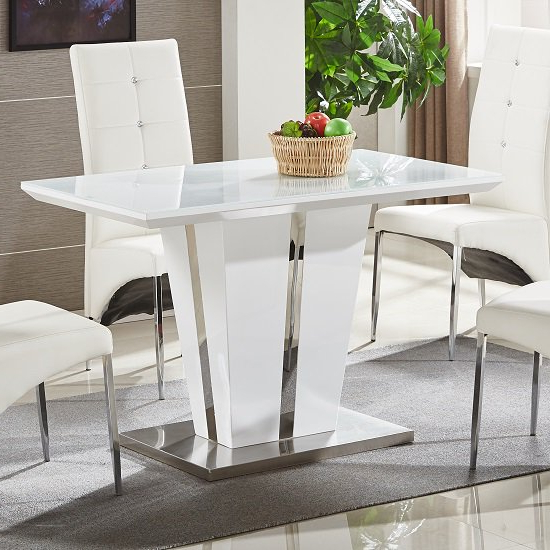 Most Up To Date Memphis Glass Dining Table Small In White Gloss And Chrome Regarding White Gloss Dining Room Tables (View 7 of 20)
