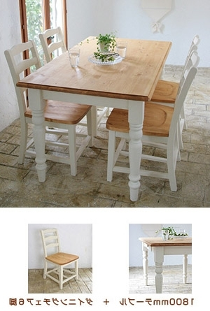 Most Up To Date Mobilegrande: Dining Table Set White Dining Chair Lohas Pine Wood In Pine Wood White Dining Chairs (View 7 of 20)