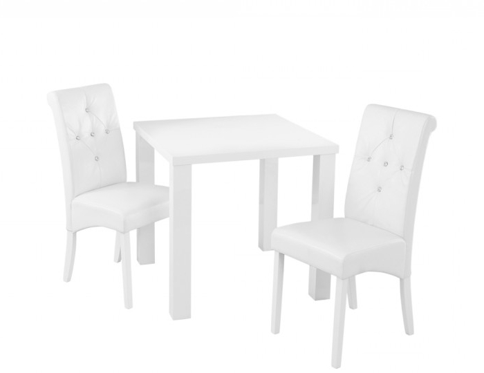 Most Up To Date Monroe White High Gloss Small Dining Table And Chairs For High Gloss White Dining Chairs (Gallery 6 of 20)