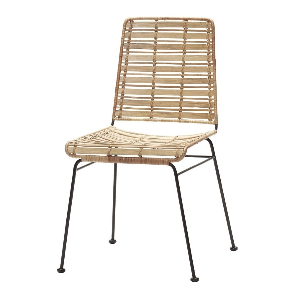 Most Up To Date Natural Rattan Metal Chairs Within Rattan Natural Chair & Black Metal – Hübsch (View 7 of 20)