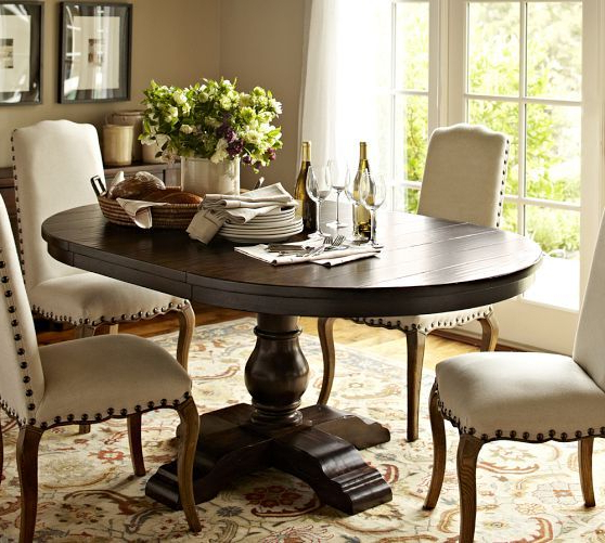 Most Up To Date Pedestal Dining Tables And Chairs Intended For Round/oval Table For Eat In Nook Cortona Extending Pedestal Dining (Gallery 15 of 20)