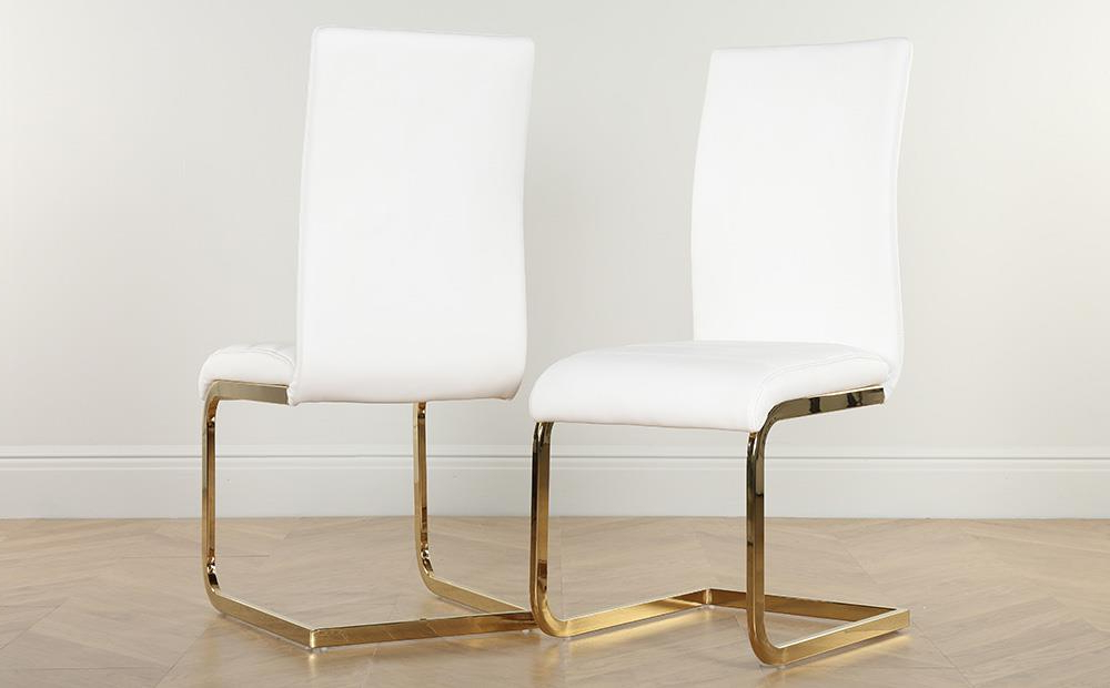 Most Up To Date Perth White Dining Chairs Inside Paris Round White High Gloss Dining Table With 4 Perth White Chairs (View 14 of 20)