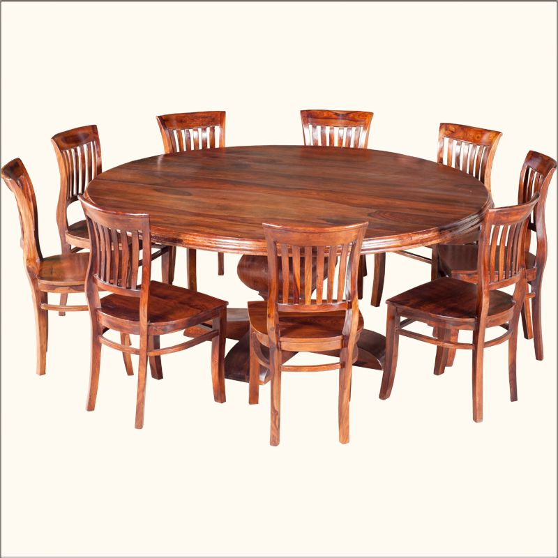 Most Up To Date Rocco 9 Piece Extension Counter Sets Inside Sierra Nevada Large Round Rustic Solid Wood Dining Table & Chair Set (View 10 of 20)