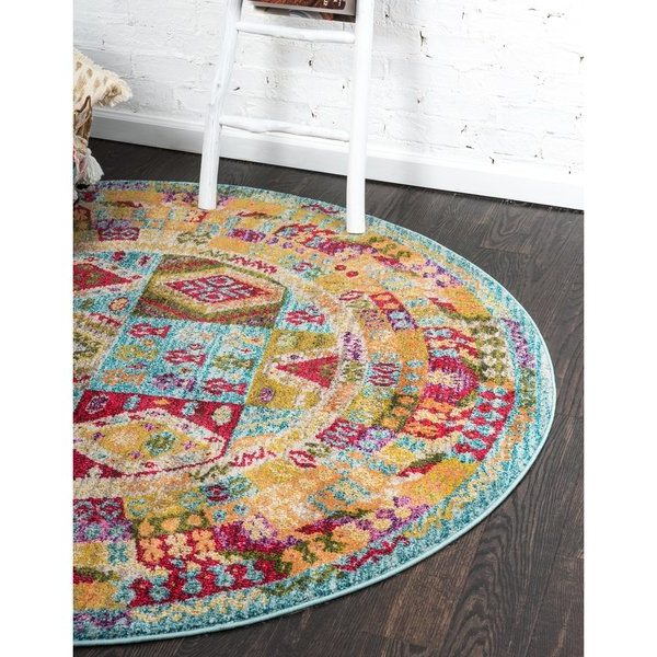 Most Up To Date Shop Unique Loom Lassen Sedona Round Rug – 8' X 8' – On Sale – Free With Regard To Lassen 5 Piece Round Dining Sets (View 15 of 20)