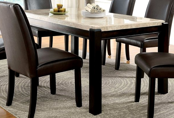 Most Up To Date Trendy Faymoor Casual Dining Table W Limestone Marble Top Antique With Regard To Jaxon 6 Piece Rectangle Dining Sets With Bench & Wood Chairs (View 15 of 20)