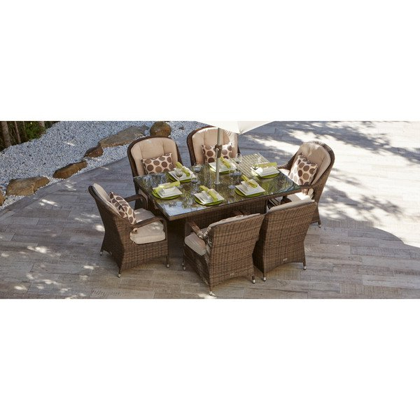 Most Up To Date Valencia 72 Inch 7 Piece Dining Sets With Shop 7 Piece Eton Outdoor Mixed Brown Wicker Rectangle Dining Table (View 7 of 20)