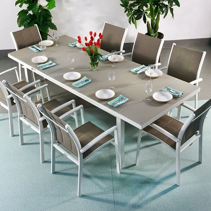 Most Up To Date White 8 Seater Dining Tables Pertaining To Dining Table Set Beatrice White & Champagne – 8 Person Aluminium (View 19 of 20)