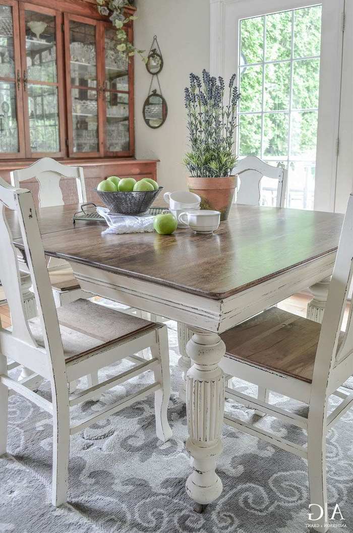 Most Up To Date White Dining Suites Throughout Antique Dining Table Updated With Chalk Paint (View 16 of 20)