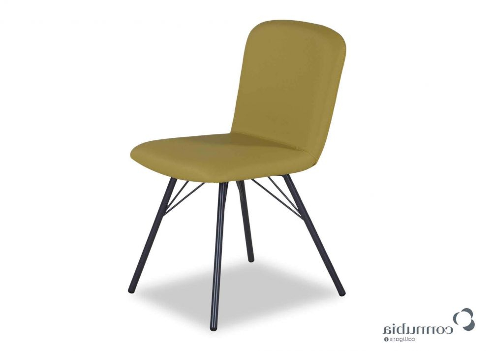 Mustard Yellow Faux Leather Dining Chair – Emma – Ez Living Furniture With Most Popular Grey Leather Dining Chairs (View 16 of 20)