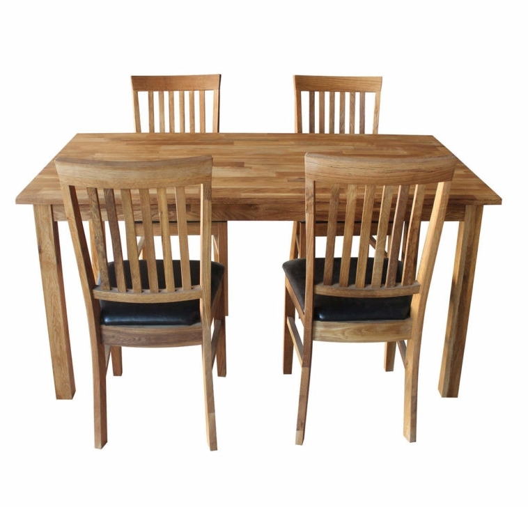Natural Brown Teak Wood Leather Dining Chairs In Latest Furniture Solid Oak Dining Table And Chairs With Black (View 10 of 20)