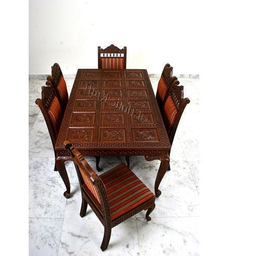 Natural Brown Teak Wood Leather Dining Chairs With Regard To Recent Carved Teakwood Dining Table Set, कर्व्ड वुड डाइनिंग (View 13 of 20)