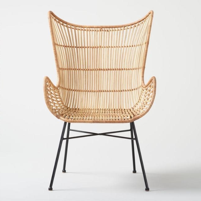 Natural Rattan Metal Chairs For Well Known Willis Natural Rattan Metal Legs Wingback Chair (View 10 of 20)