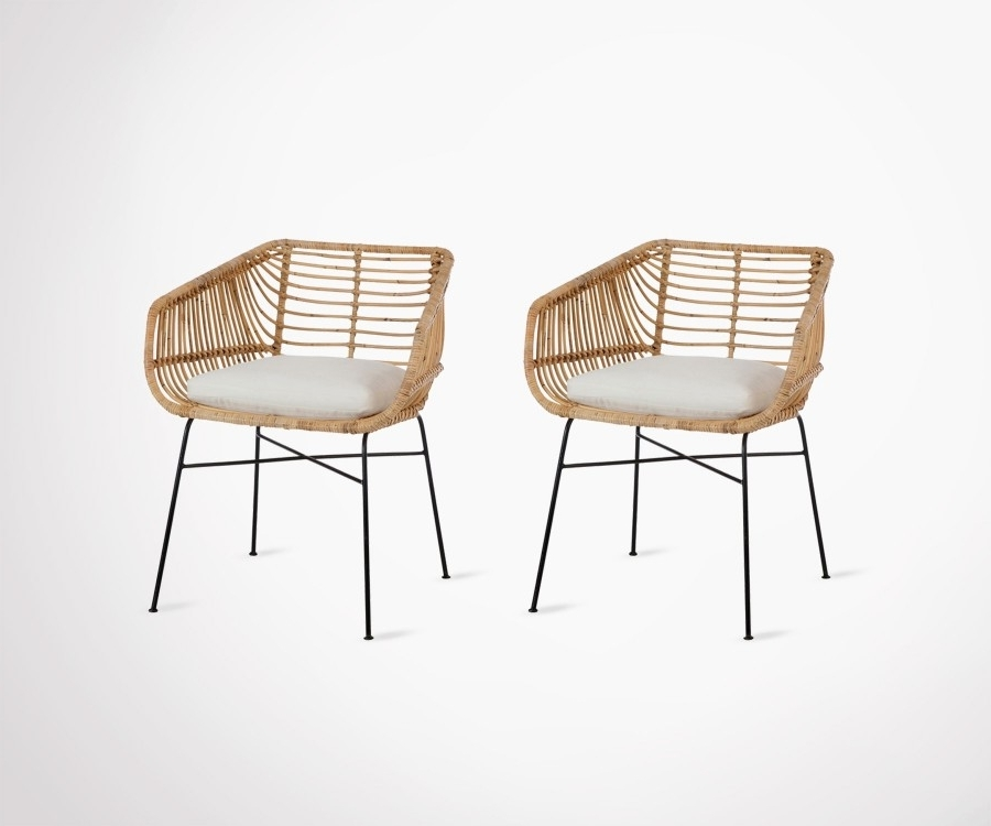 Natural Rattan Metal Chairs For Well Liked Set Of 2 Natural Metal Rattan Outdoor Chairs With Cushionj Line (View 12 of 20)