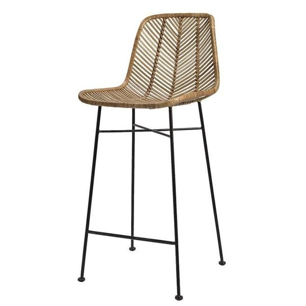 "Natural Rattan Metal Chairs Pertaining To Popular 20 1/2""lx40 1/2""h Rattan Bar Stool, Natural W Metal Frame In  (View 14 of 20)"