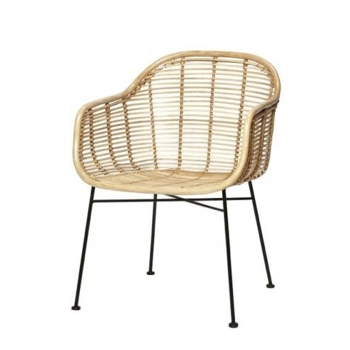 Natural Rattan Metal Chairs Throughout 2018 Hübsch Rattan Chair With Armrest Metal Nature – Living And Co (View 15 of 20)