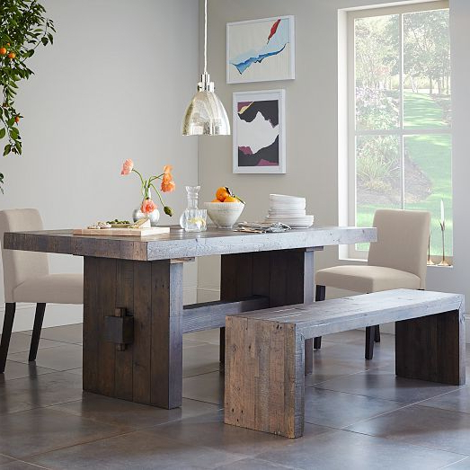 Natural Wood & Recycled Elm 87 Inch Dining Tables Pertaining To Most Recently Released Emmerson® Reclaimed Wood Dining Bench – Stone Gray (View 5 of 20)