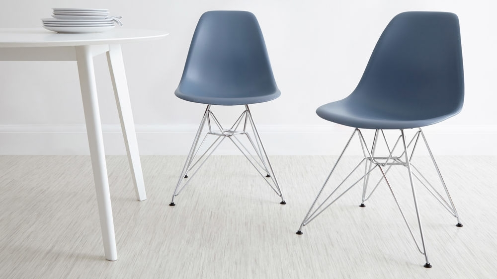 Nautical Silver Side Chairs Within Newest Eames Style Dining Chair With Wire Frame Base (View 7 of 20)
